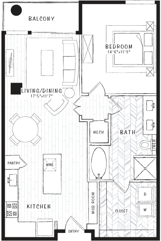 860 sq. ft. A4A floor plan