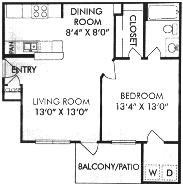664 sq. ft. A floor plan