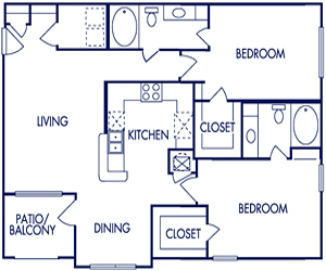 1,107 sq. ft. E floor plan