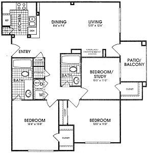 1,152 sq. ft. WINDSOR floor plan