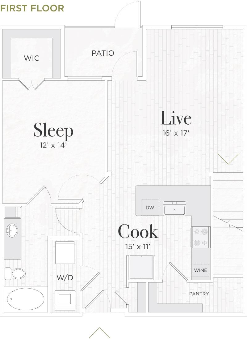 1,590 sq. ft. Rufolo I floor plan