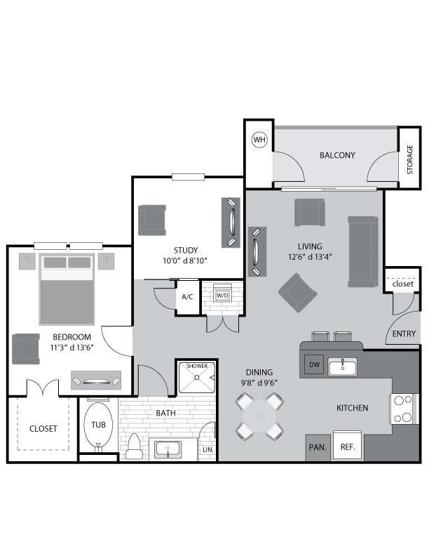 893 sq. ft. A2 floor plan