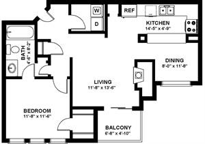 718 sq. ft. A2P floor plan