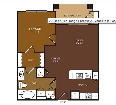 610 sq. ft. Vanderbilt floor plan