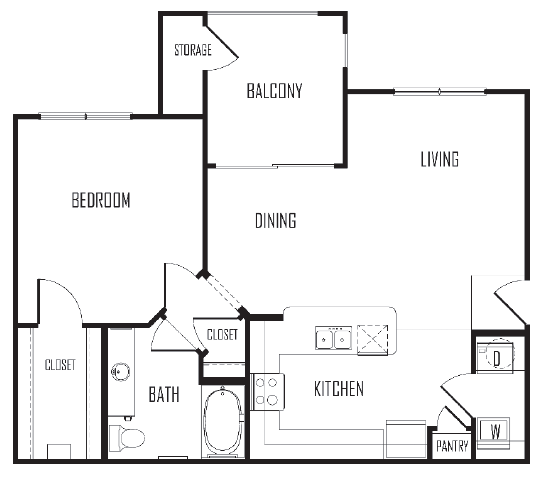 819 sq. ft. A3 floor plan