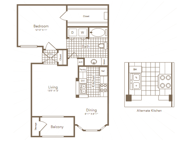 728 sq. ft. LOVETT floor plan