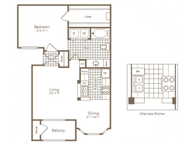 728 sq. ft. Lovett floor plan