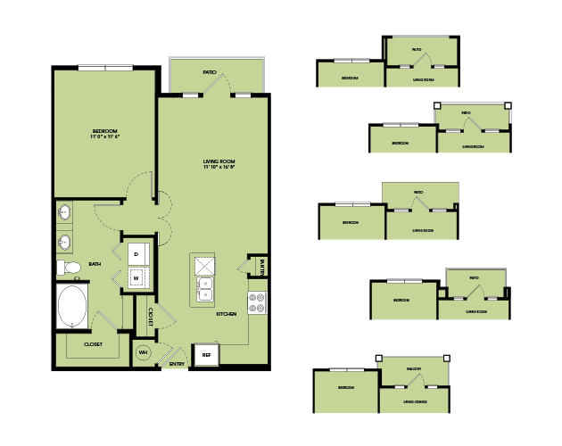 763 sq. ft. A3.6 floor plan