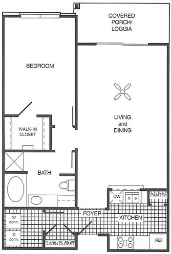 883 sq. ft. 60% floor plan