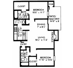 951 sq. ft. F floor plan