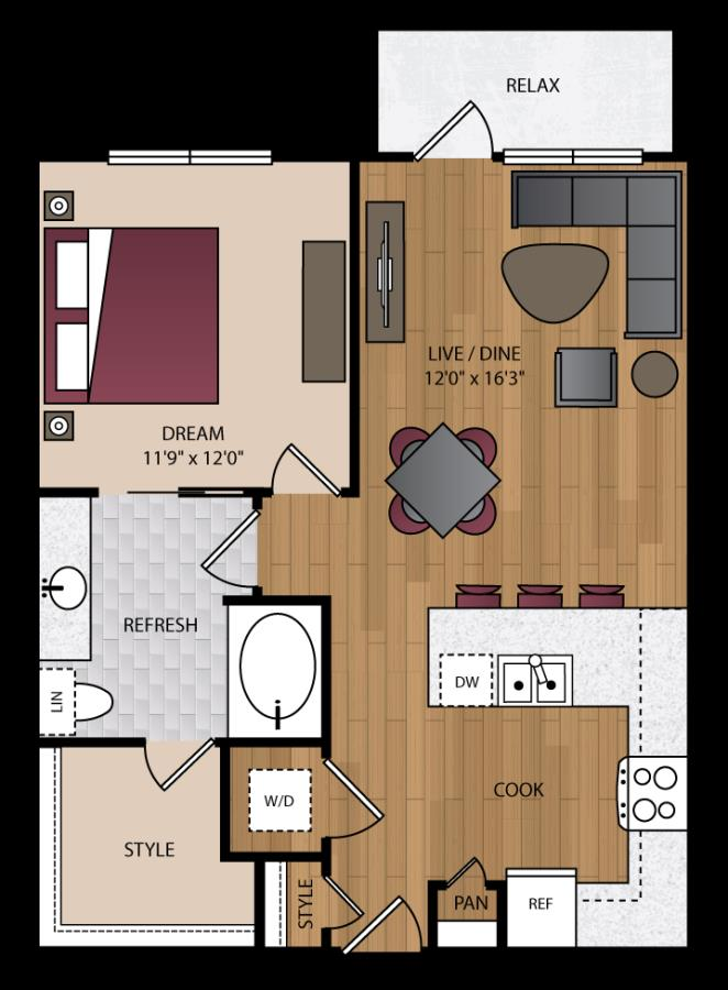 750 sq. ft. P-A3 floor plan