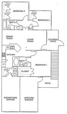 1,125 sq. ft. D/60% floor plan