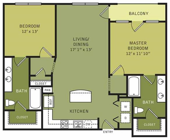 1,310 sq. ft. floor plan
