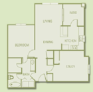 939 sq. ft. B1 floor plan