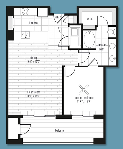 861 sq. ft. to 1,042 sq. ft. J floor plan