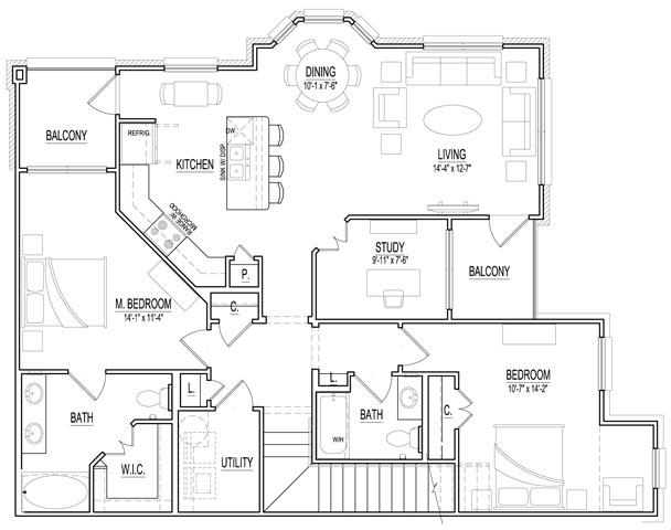 1,425 sq. ft. B3 Up floor plan