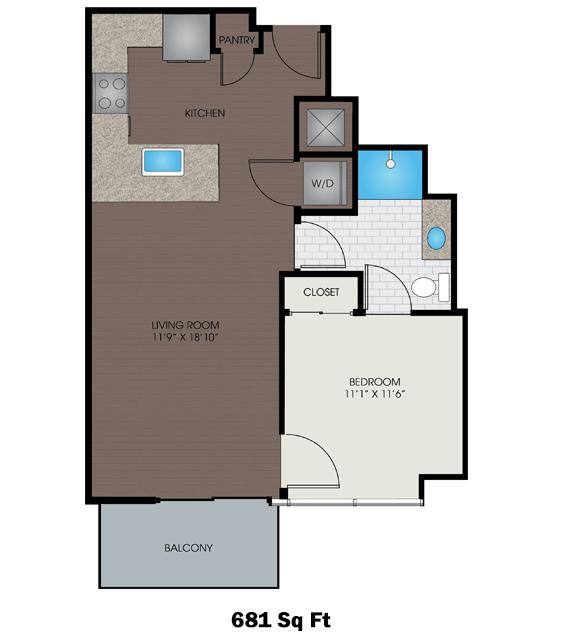 681 sq. ft. B floor plan