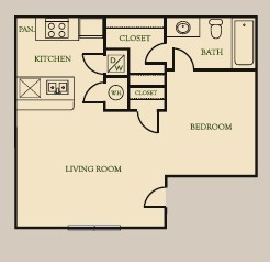 450 sq. ft. E floor plan