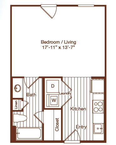 494 sq. ft. floor plan