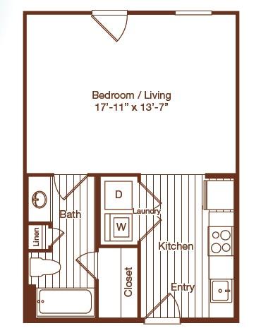494 sq. ft. floor plan