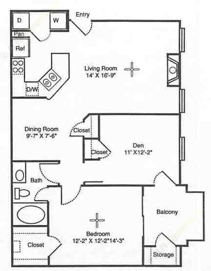 918 sq. ft. Tuscany floor plan