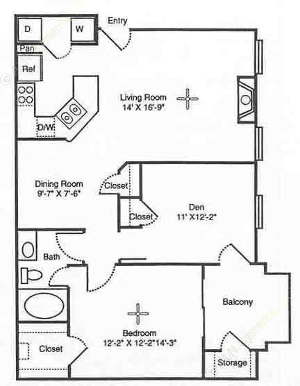 918 sq. ft. Tuscany floor plan