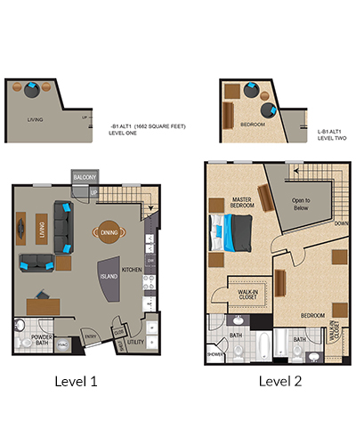 1,436 sq. ft. to 1,585 sq. ft. Chrome floor plan