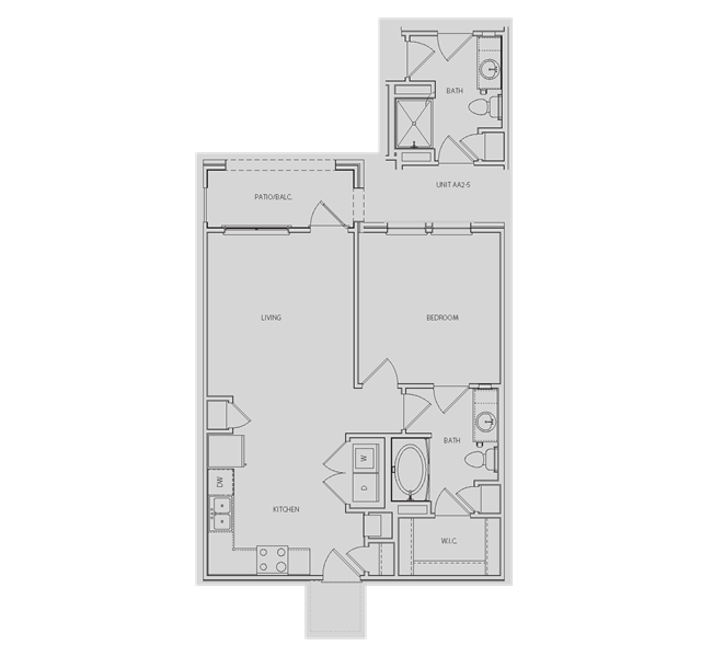 669 sq. ft. to 772 sq. ft. AA2/AA2-S floor plan