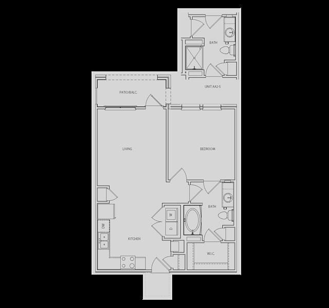 669 sq. ft. to 772 sq. ft. AA2/AA2-S floor plan