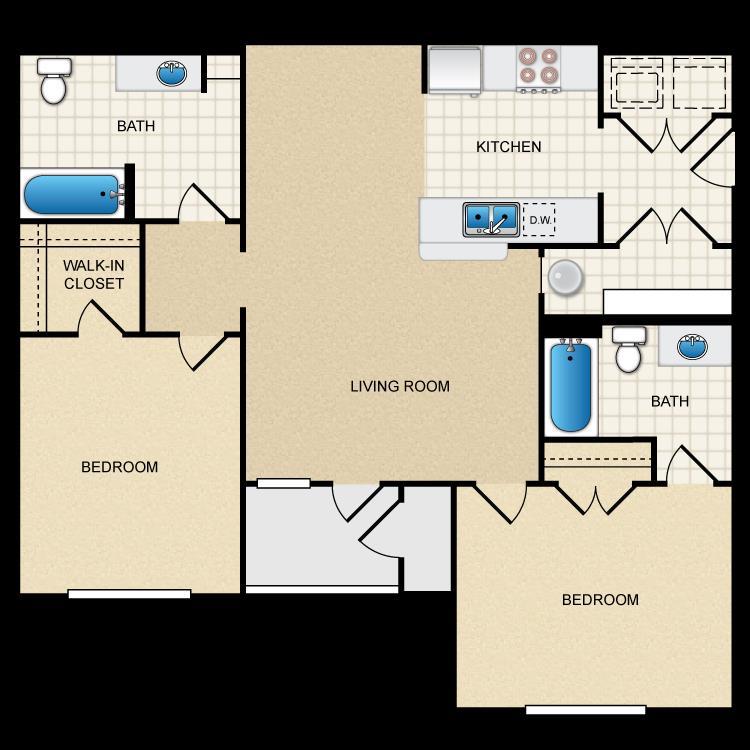 1,060 sq. ft. 50% floor plan