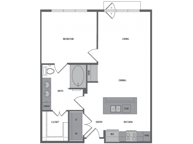 752 sq. ft. D floor plan