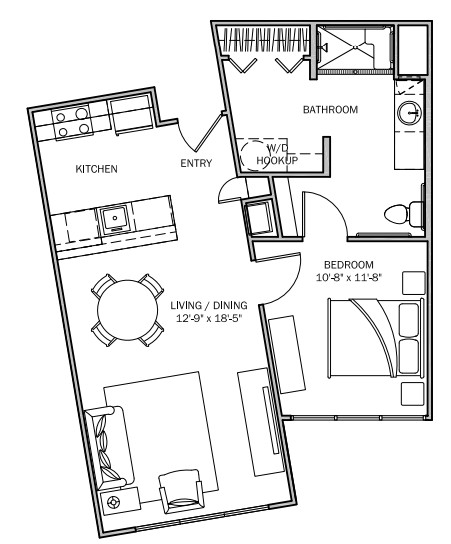 705 sq. ft. Goldenrod 30% floor plan