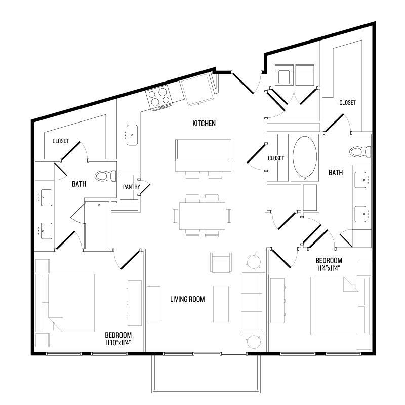 1,188 sq. ft. B6 floor plan