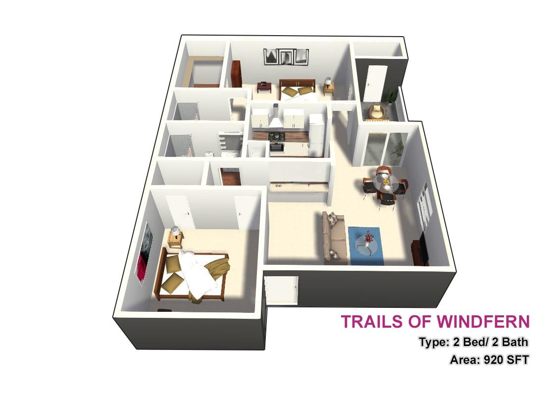 920 sq. ft. 2X2 floor plan