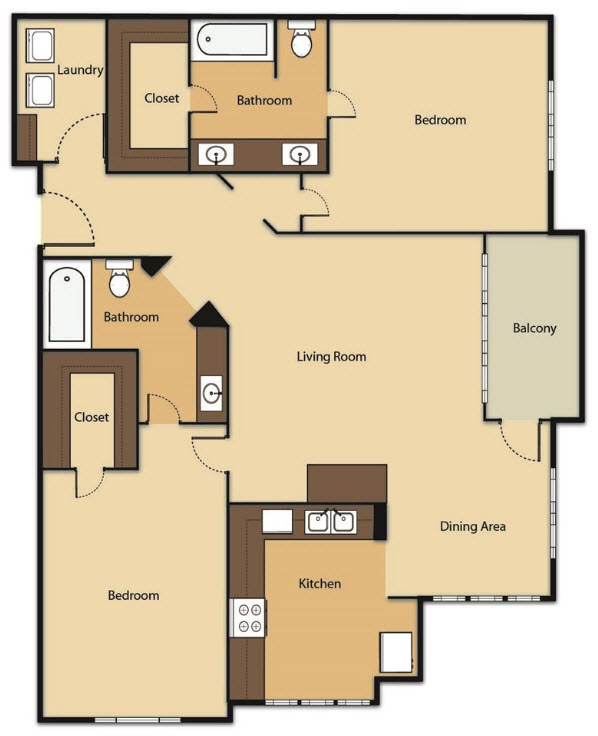 1,236 sq. ft. B3U floor plan