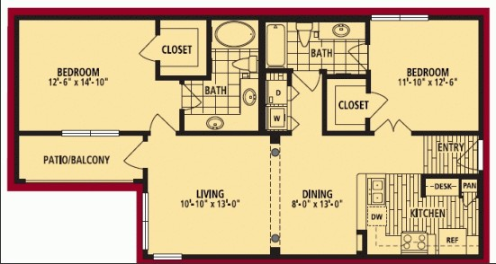 1,074 sq. ft. MARABELLA floor plan