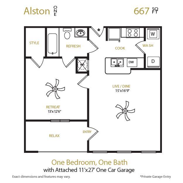 667 sq. ft. Alston 1 floor plan