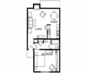 661 sq. ft. Birch floor plan