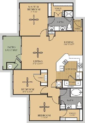 1,362 sq. ft. C1/San Jacinto floor plan