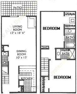1,260 sq. ft. J floor plan
