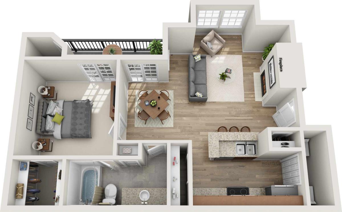 762 sq. ft. A floor plan