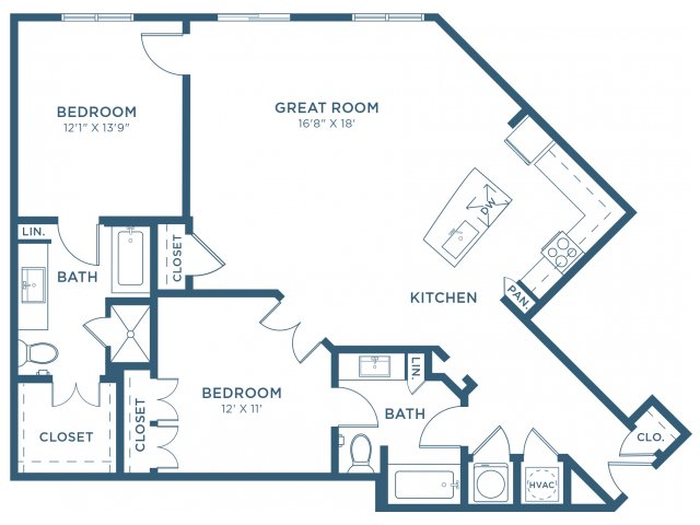 1,260 sq. ft. B6 floor plan