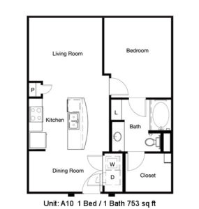 753 sq. ft. A10 floor plan