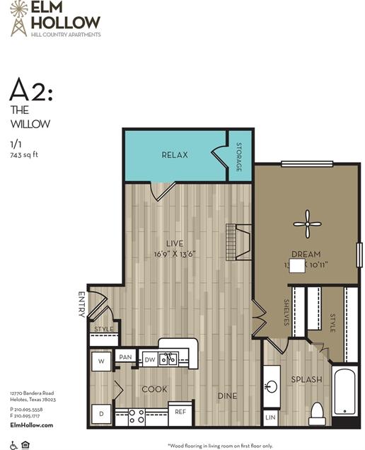743 sq. ft. WILLOW floor plan