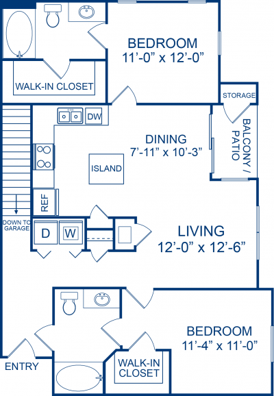 1,129 sq. ft. LIPIZZAN floor plan