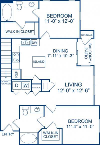 1,129 sq. ft. Lippizzan floor plan