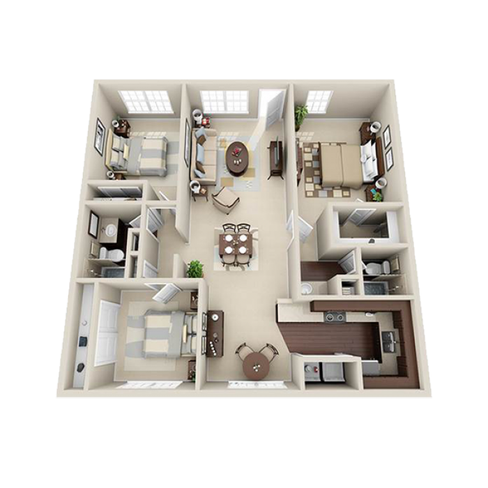 1,250 sq. ft. C floor plan