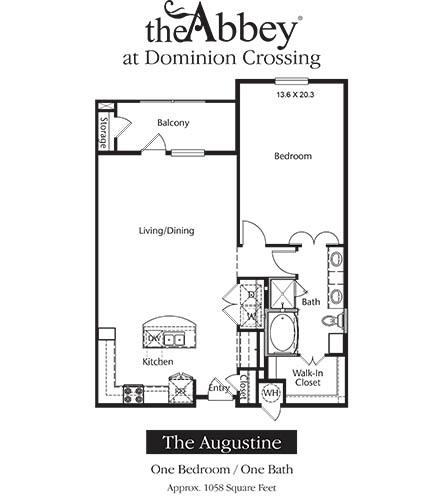1,058 sq. ft. Augustine floor plan