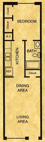 439 sq. ft. A1 floor plan
