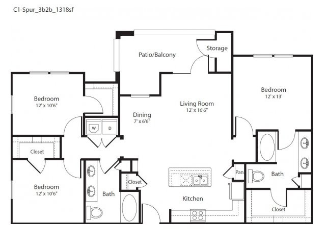1,318 sq. ft. Spur floor plan